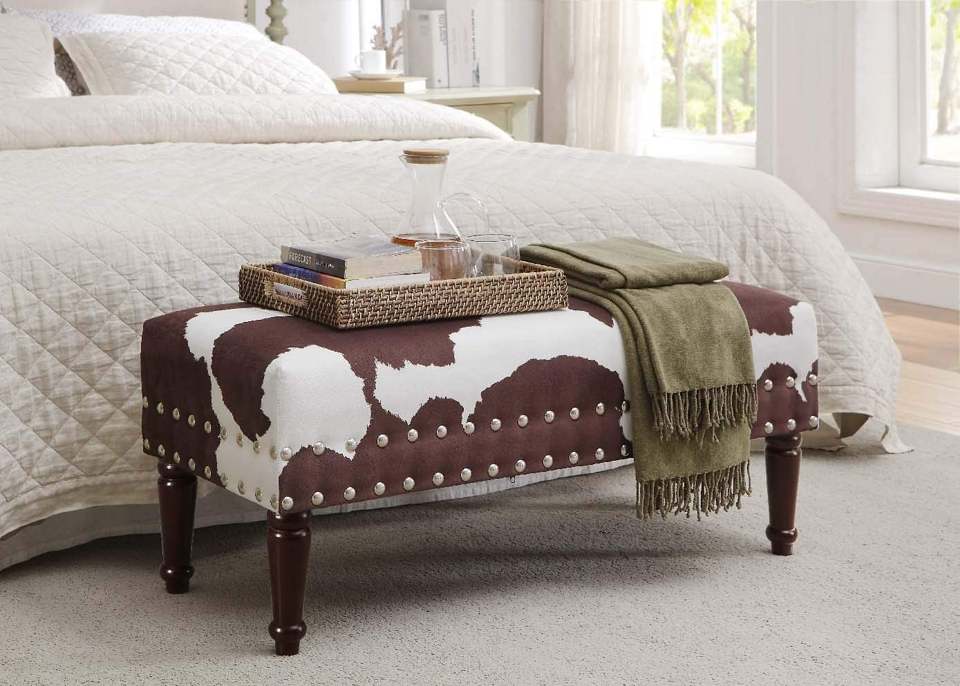 Convenience Concepts Designs4Comfort Faux Cowhide Bench with Nailheads, Brown Faux Cowhide