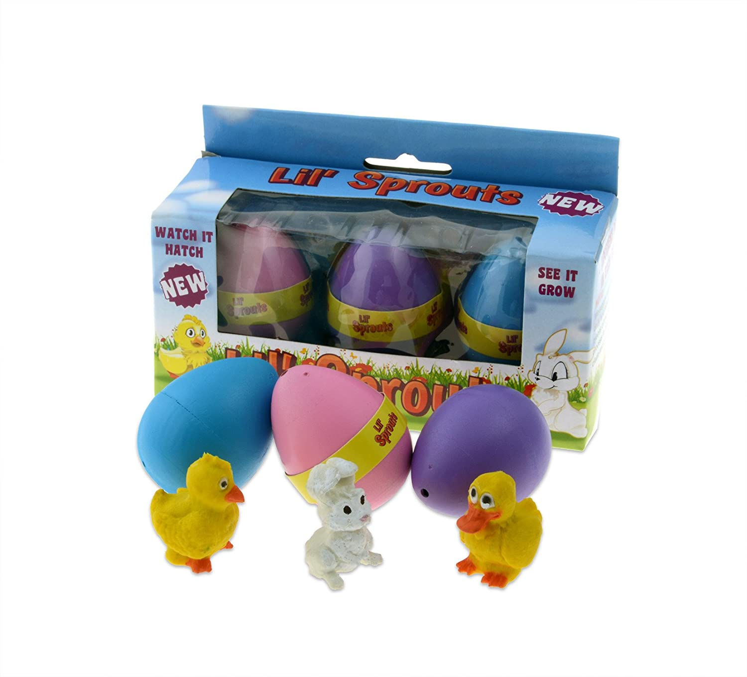 Amazon com lil sprouts hatching easter eggs 3 pack watch them grow overnight toys games