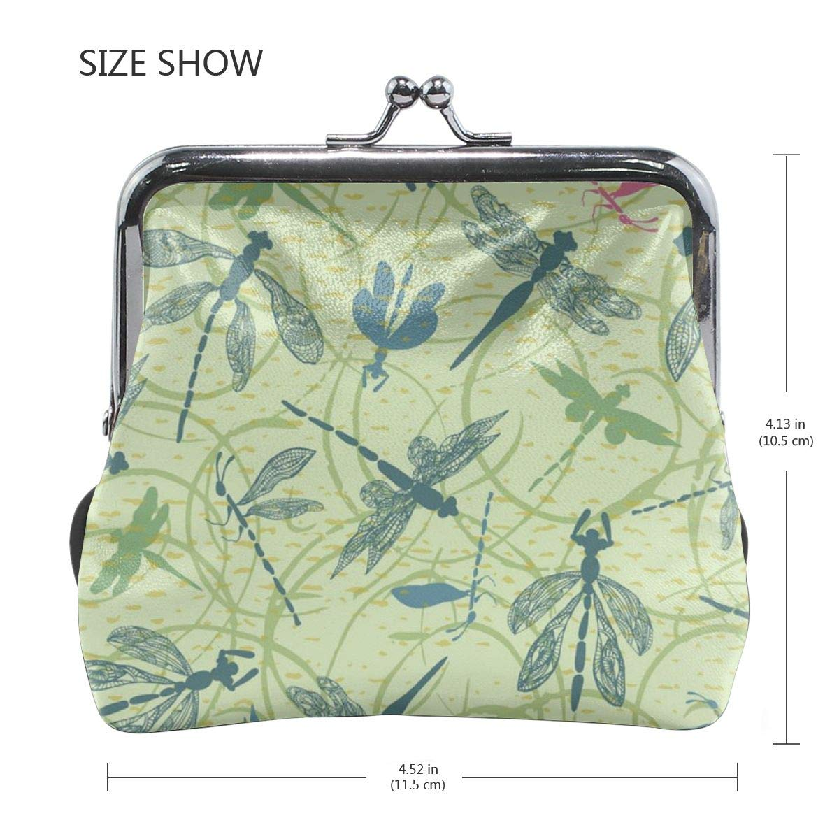Yunshm Dragonfly Silhouettes With Lace Details Customized Leather Classic Floral Coin Purse Clutch Pouch Wallet For Womens