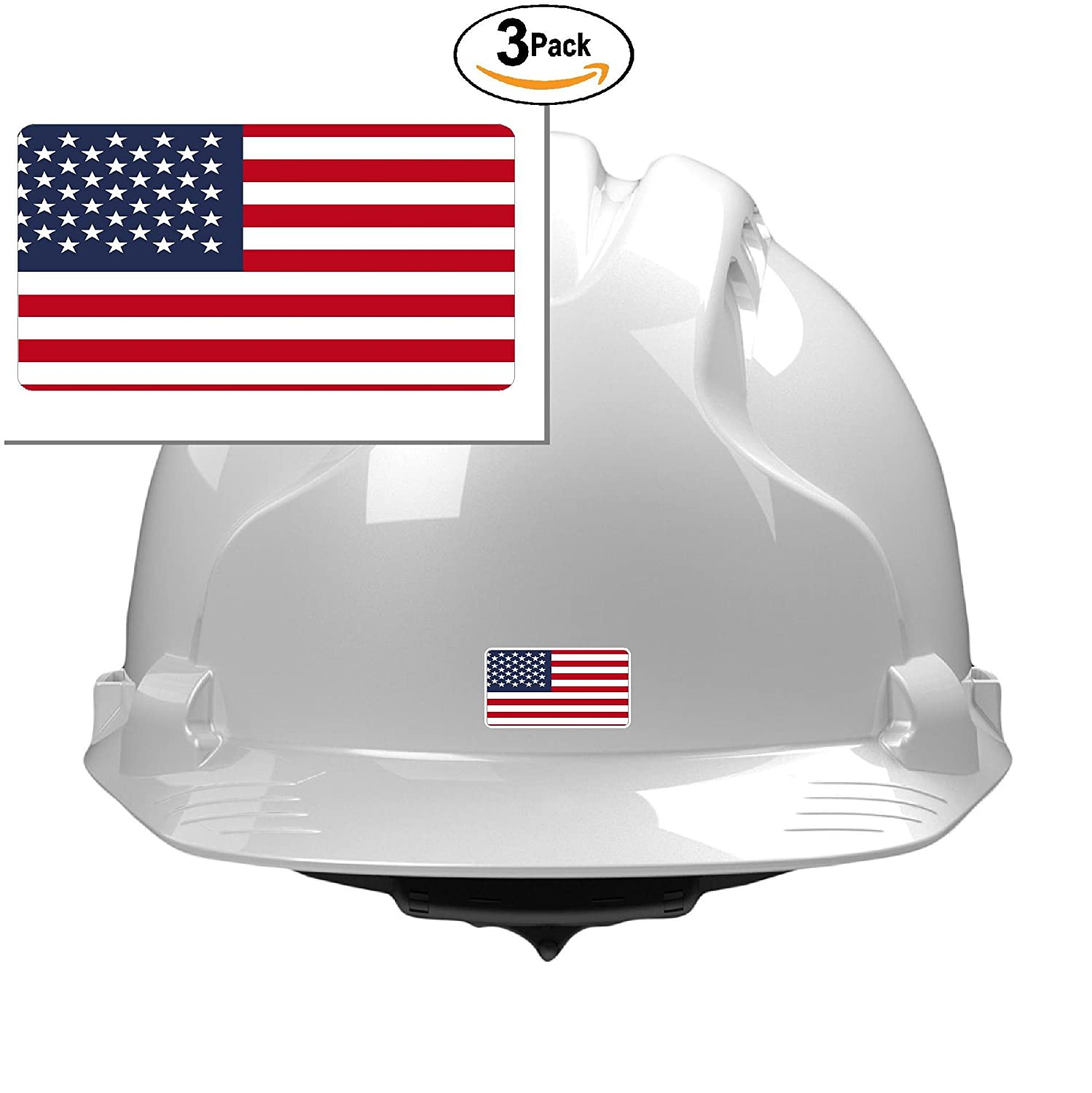 3 usa flag 3x1 size stickers for constrution hard hat pro union working men lunch box tool box symbol window motorcycle biker car made and shipped in