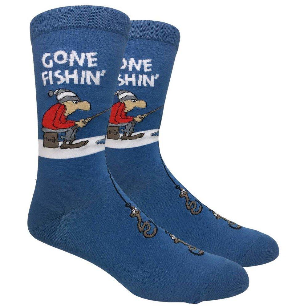 Fine Fit Men's Novelty Fun Crew Socks for Dress or Casual (Gone Fishin')