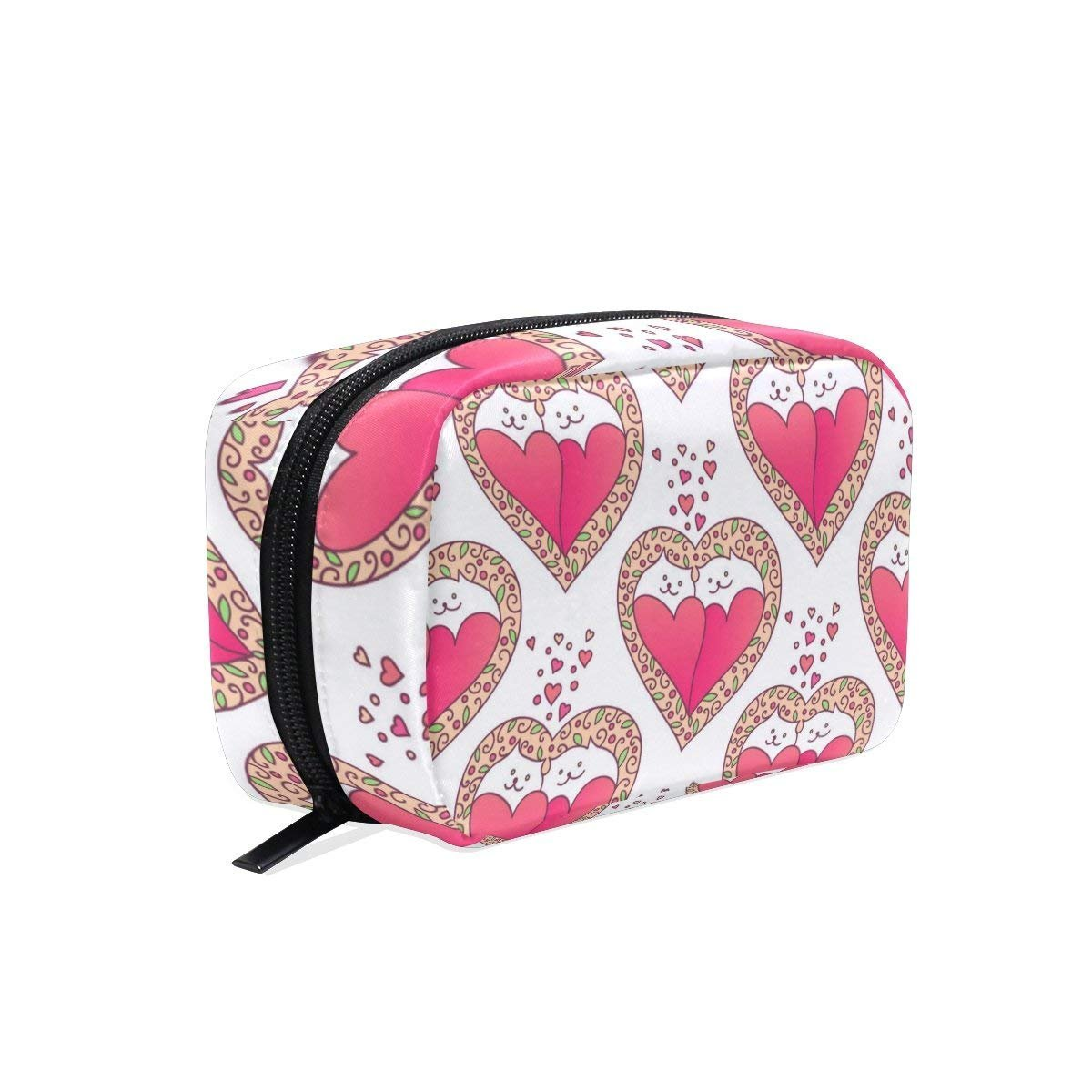 Cats Love Makeup Bag Multi Compartment Pouch Storage Cosmetic Bags for Women Travel