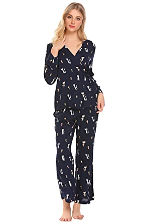 Ekouaer Womens Pajamas Cat Print Long Woven PJ Set Nightwear at ... 08563a0f6