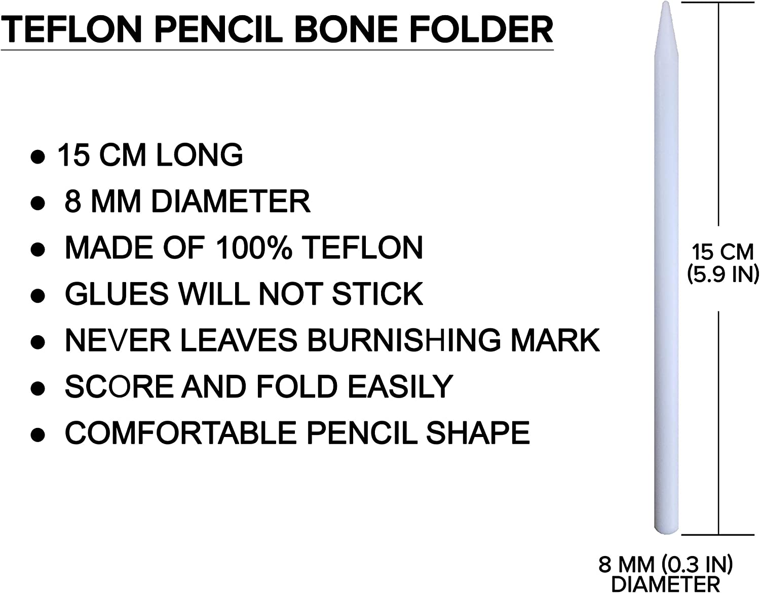 100/% Teflon Premium Quality for Scoring Creasing Scrapbooking /& More White Extra Smooth Origami Crafty Gnome Teflon Pencil Bone Folder and Scoring Tool Folding Bookbinding