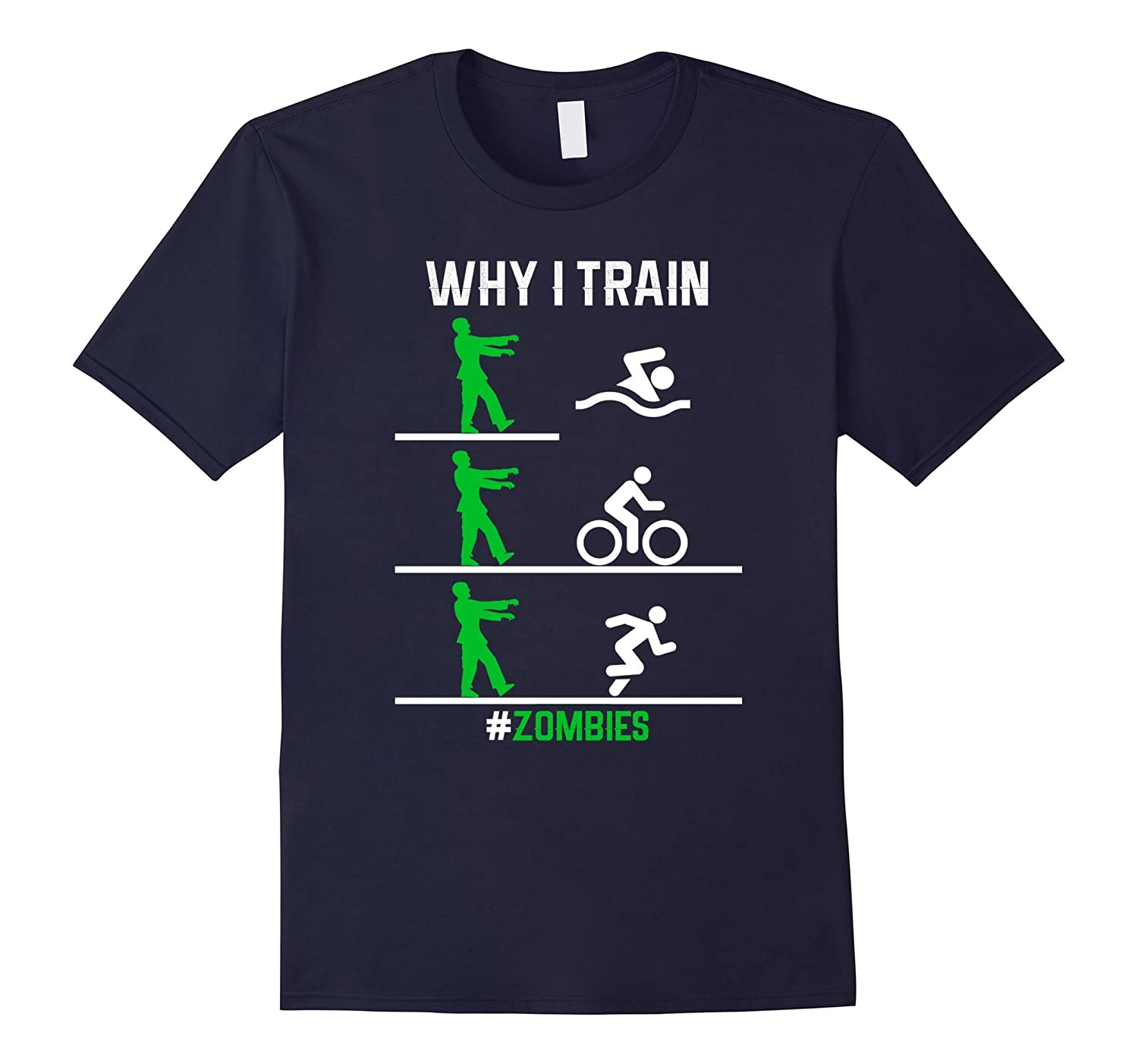 Funny Zombies Chasing Triathletes T-shirt-BN