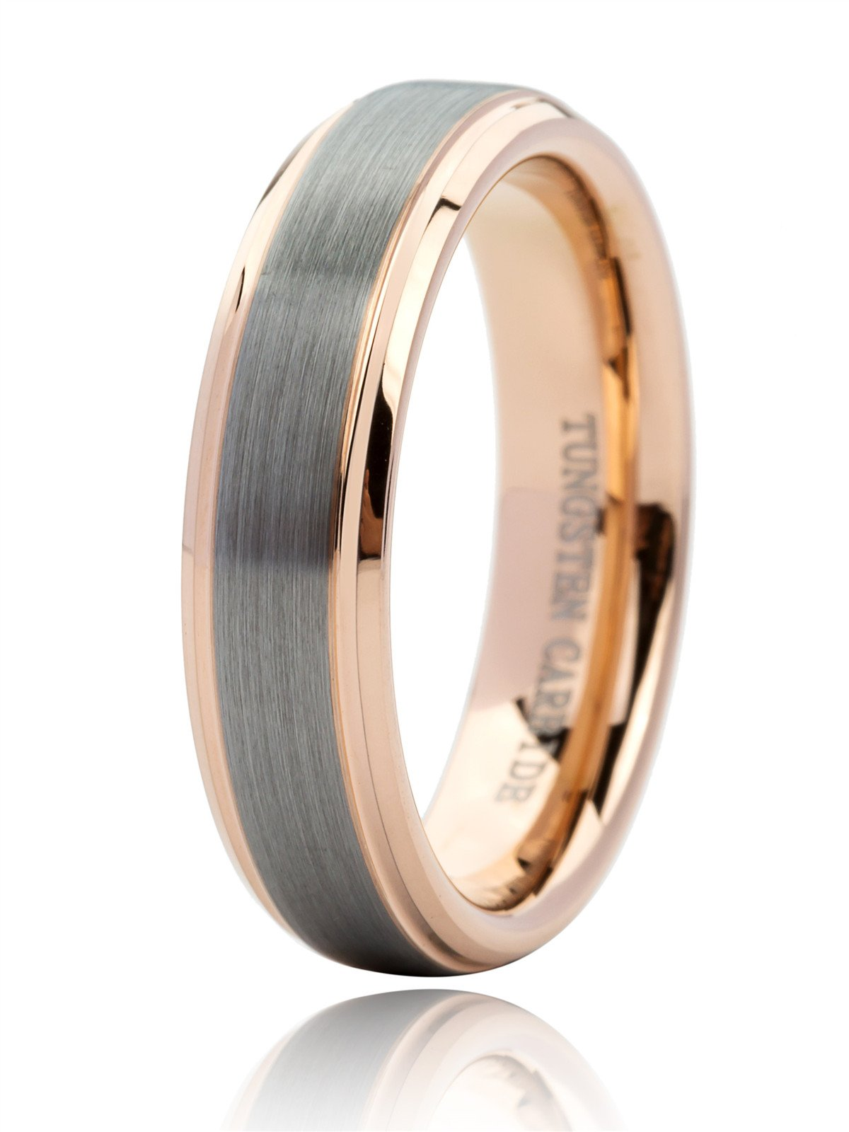 Just Lsy Unisex 18K Rose Gold Plated Tungsten Wedding Band Ring 6mm for Men Women Beveled Edge Brushed Polished Size 10.5 Lsy-016