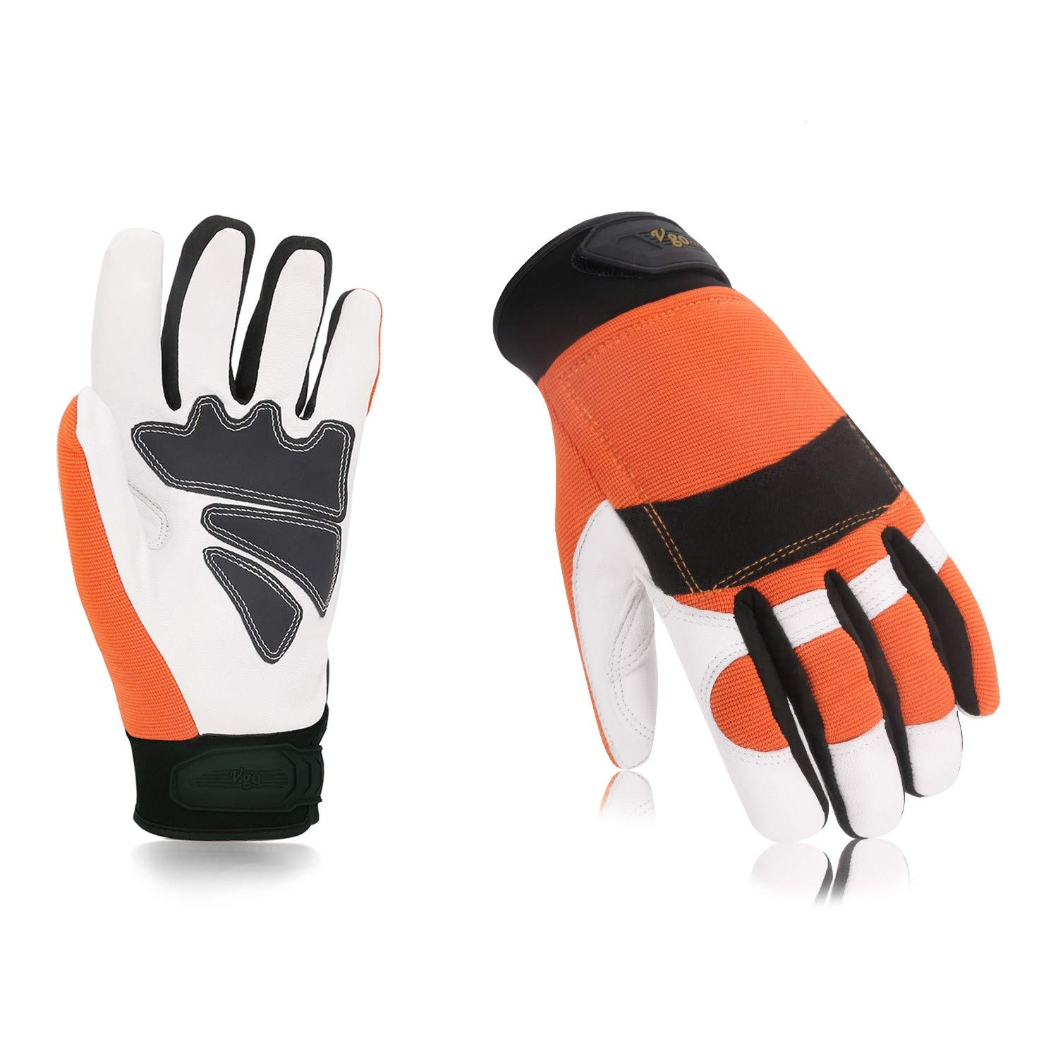 Vgo EN381-7 Standard,Class 1,Goatskin Leather Left Hand for Extra Cut Resistance, Chainsaw Protection Gloves(1Pair,Size L,Orange,GA8912) Laborsing Safety Products Inc.