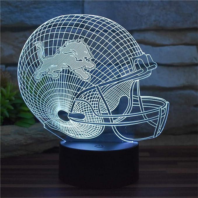 Luz de noche decorativa 3D Nueva Detroit Lions Fútbol americano ...