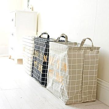 Cestas de almacenamiento, Algodón lino impermeable PE recubrimiento misceláneas juguete cesta bolsa de compras plegable caja de almacenamiento LMMVP (Blanco ...