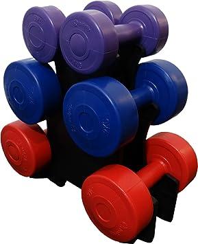 BodyRip - Juego de pesas de vinilo, 12 kg, con soporte, 7 unidades: Amazon.es: Deportes y aire libre