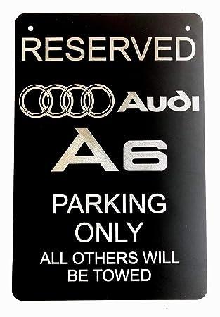 Audi A6 LOGO Diamond Etched on Black Aluminum License Plate