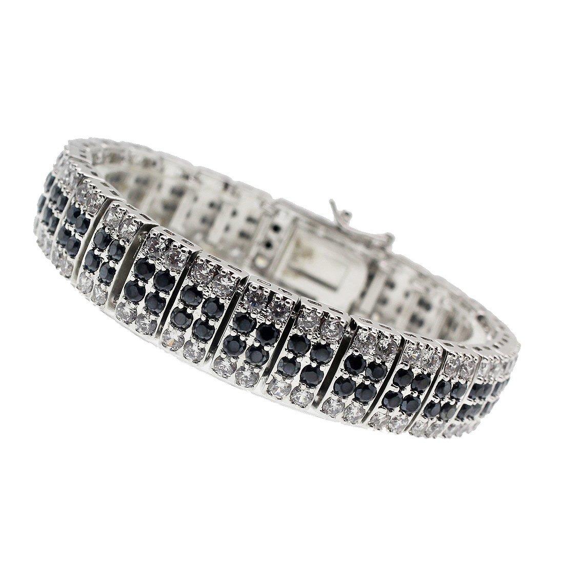 Women Bracelets 925 Sterling Silver Gemstone Black Onyx Cubic Zirconia (Black)