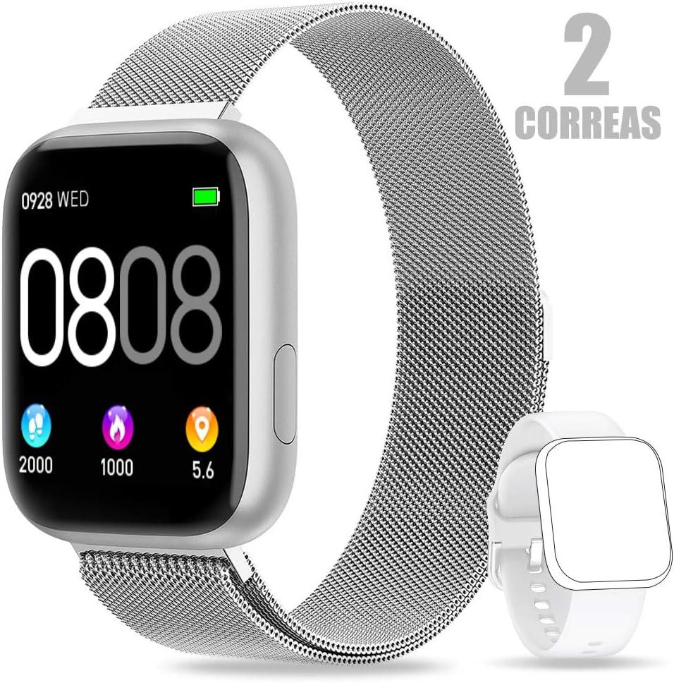 AIMIUVEI Smartwatch, Reloj InteligenteMujer Hombre IP67 con Pulsómetro, 1.4 Inch Smartwatch Presión Arterial Monitor de Sueño GPS Podómetro Pulsera Actividad Inteligente Compatible con iOS y Android