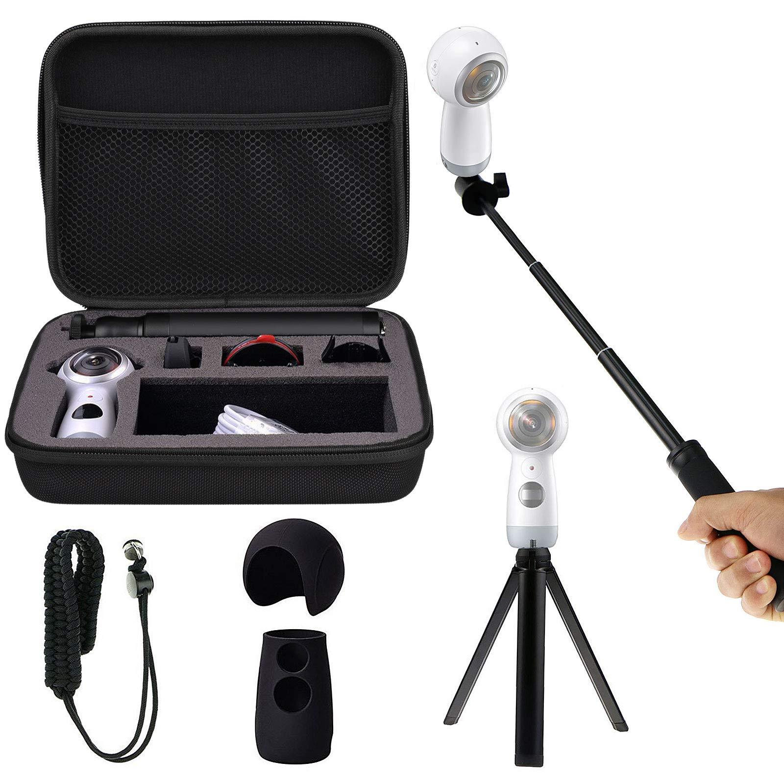 Shockproof Protective Carrying Case, Selfie Stick Monopod, Mini Tripod Stand, Soft Silicone Skin, Wrist Strap for Samsung Gear 360 2017, EEEKit All in One Accessory Kit (All in 1 Kit for 2017 Edition) by EEEKit (Image #1)