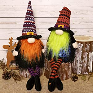 EDLDECCO Gnomes Set Light with Timer Fall Holidays Thanksgiving Halloween Set of 2 Nisse Swedish Nordic Tomte Wizard Witch Hat Decor Home Party Decorations(Orange & Purple)