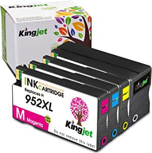 Updated in August, Kingjet Compatible Replacements for 952, 952XL Ink Cartridges Work with Officejet Pro 7720 7740 8210 8216 8702 8710 8715 8720 8725 8730 8740 Printers, 4 Pack