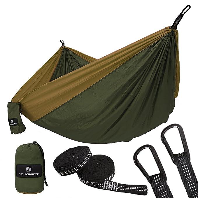 SONGMICS Hängematte, Ultraleicht, tragbar und atmungsaktiv, für 2 Personen, aus Fallschirm Nylon, bis 300 kg belastbar, 300 x