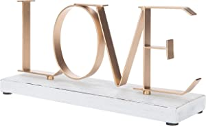 MyGift Love Metal Letters Decorative Sign with Whitewashed Wood Base