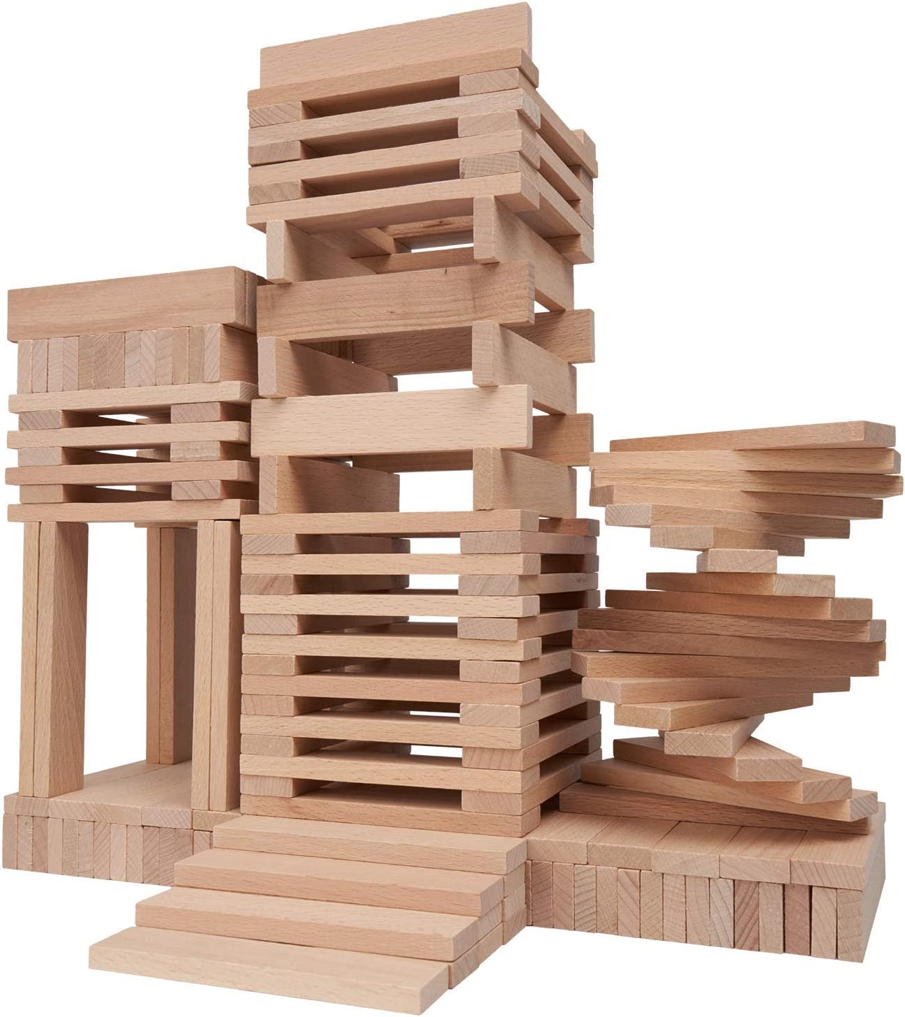 Large Wooden Building Planks Toys 100/% Nature Beechwood-200 Pieces Future Way Wood Building Blocks for Kids Boys and Girls Castle Play Set for Toddlers