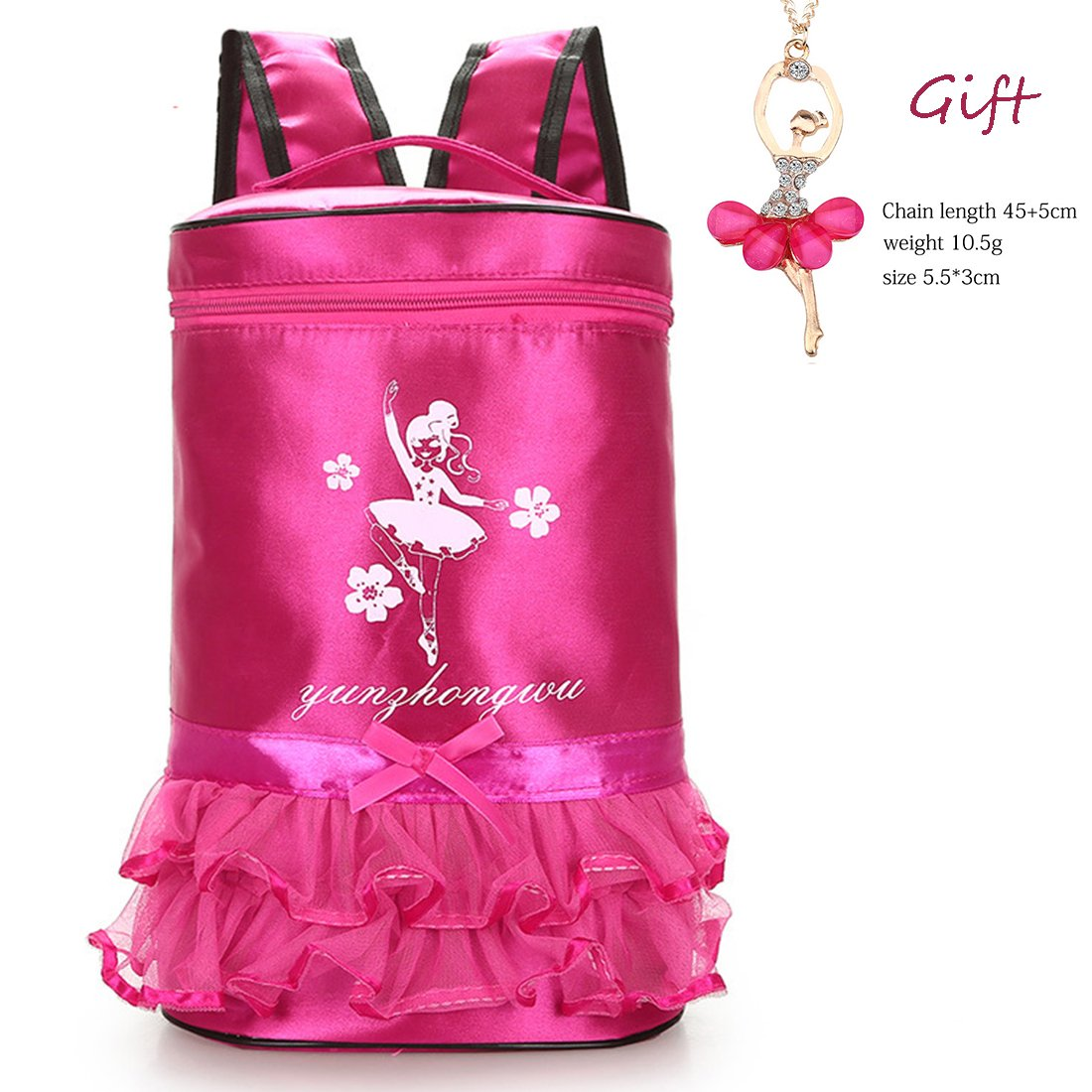 Debbieicy Cute Ballet Dance Bag Tutu Barbie Dress Bag + Ballerina Necklace for Girls (Rose3)