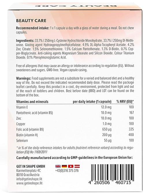 Biotina + zinc + selenio (dosis alta) para el cabello, la piel y las uñas. Incluye ácido fólico, cobre y vitaminas del grupo B. 60 cápsulas vegetarianas.