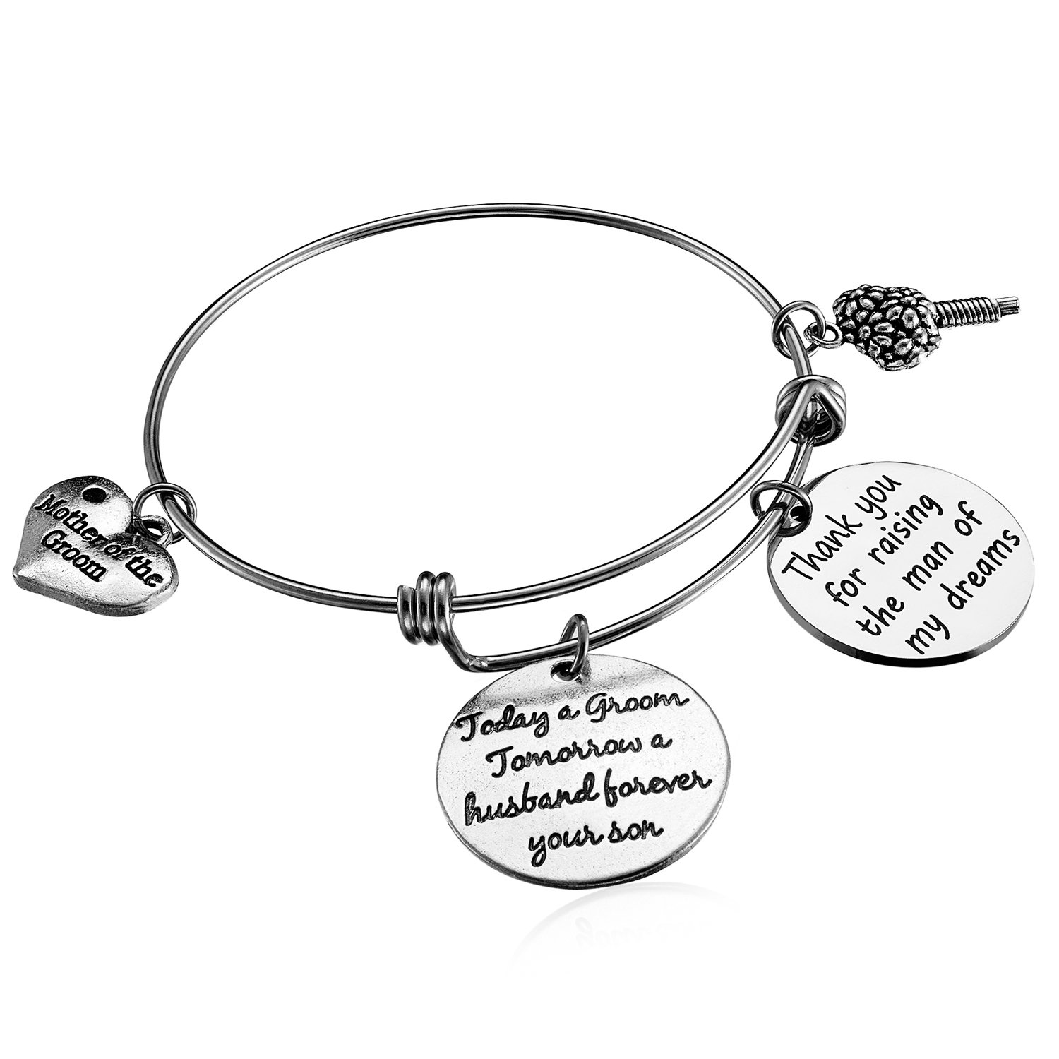 Alxeani Wedding Gift for Mother of the Groom Bangle Bracelet from Bride to Mother-in-Law Wedding Thank You Gift