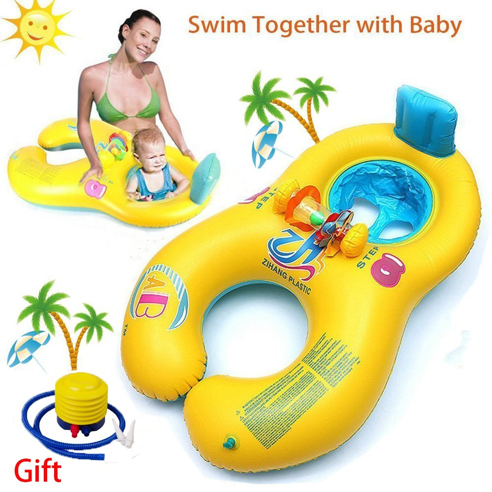 WONICE Baby Pool Float - Baby Swim Float Seat Pool Toy with Mommy Swim Ring with Air Pump