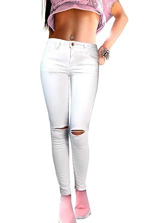c18d12c9da if she Damen Skinny Slim Destroyed Jeans Hose weiß eng Stretch Röhrenjeans  2 Knie Risse, Größe:M: Amazon.de: Bekleidung