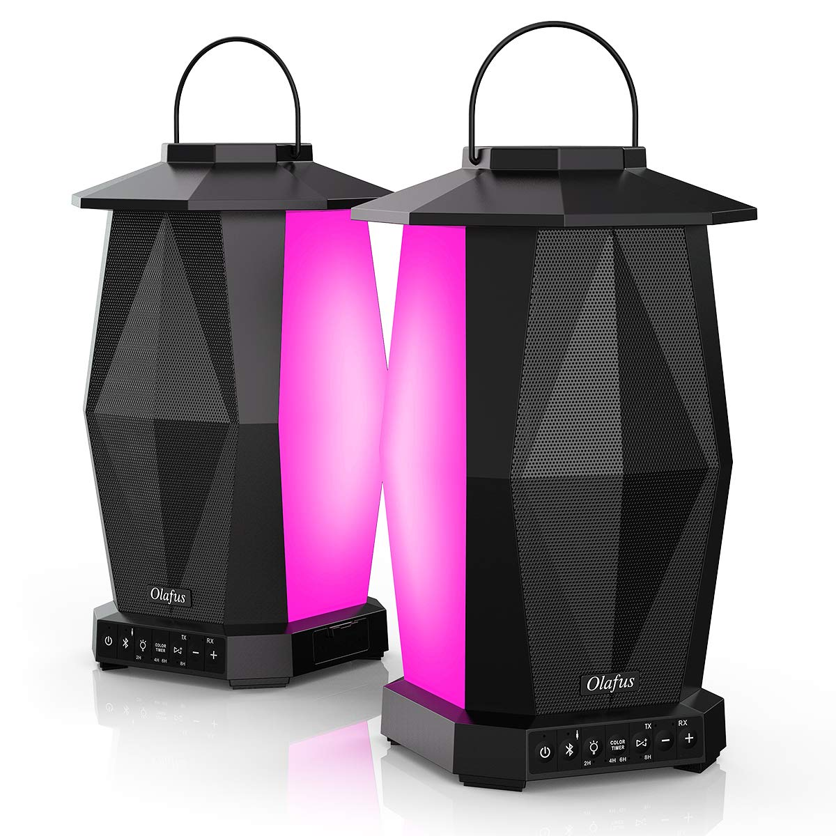 Olafus Bluetooth Speaker 2 Pack, IPX5 Waterproof Outdoor Lantern Speaker with 8 LED Light Color, True Wireless Stereo Pairing Speakers, Loud for House Party, 100ft Bluetooth Range, 20H Playtime
