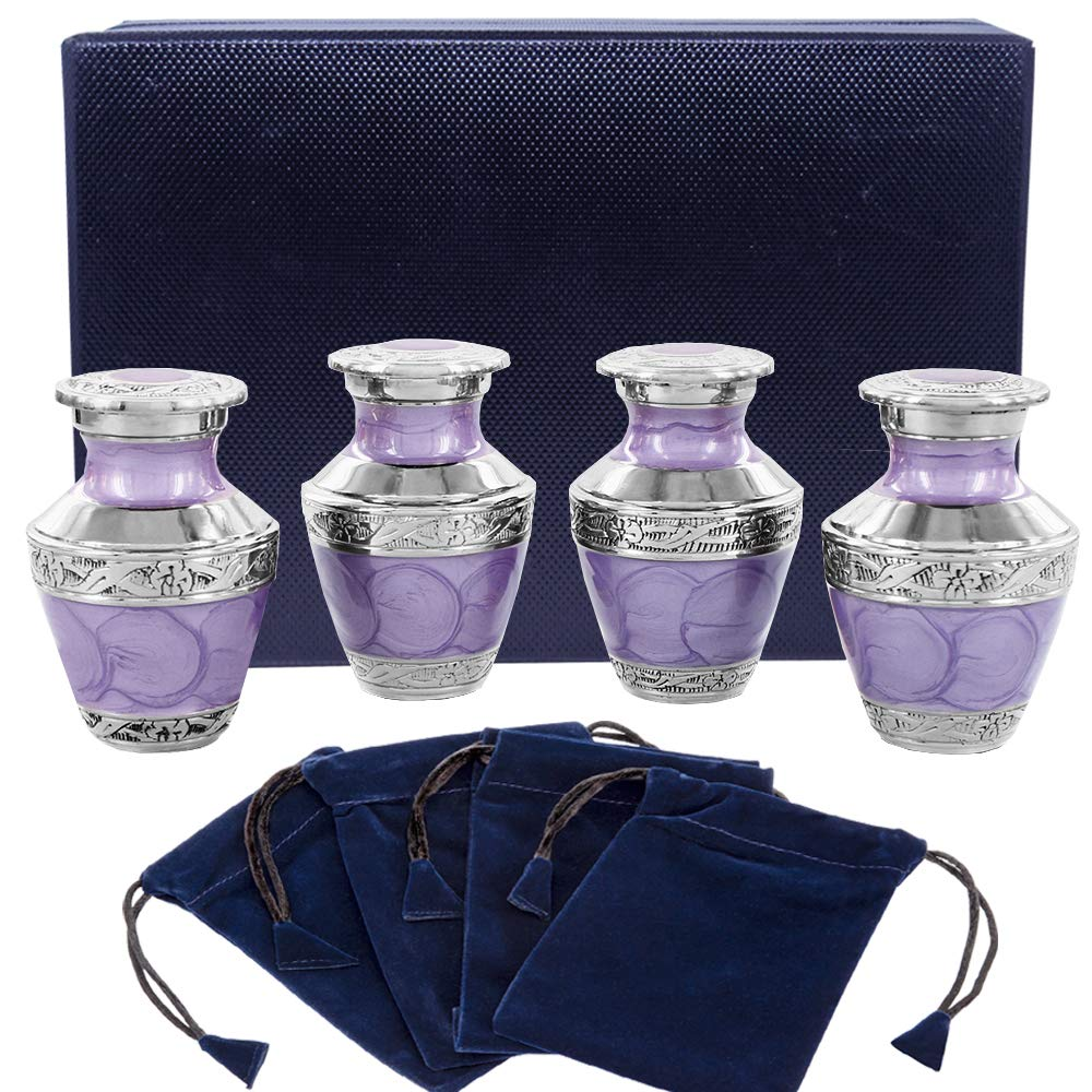Eternal Peace Lavender Small Keepsake Urns for Human Ashes - Set of 4 - This Timeless and Beautiful Urn is Perfect to Honor Your Loved One - Warm and Comforting Urn for Your Cherished Remains by Trupoint Memorials