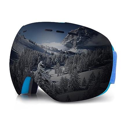 Gafas de Esquí Lente Cilíndrica Doble Con Amplio Campo Visual Gafas Snowboard Espejo Antiniebla y Antivaho