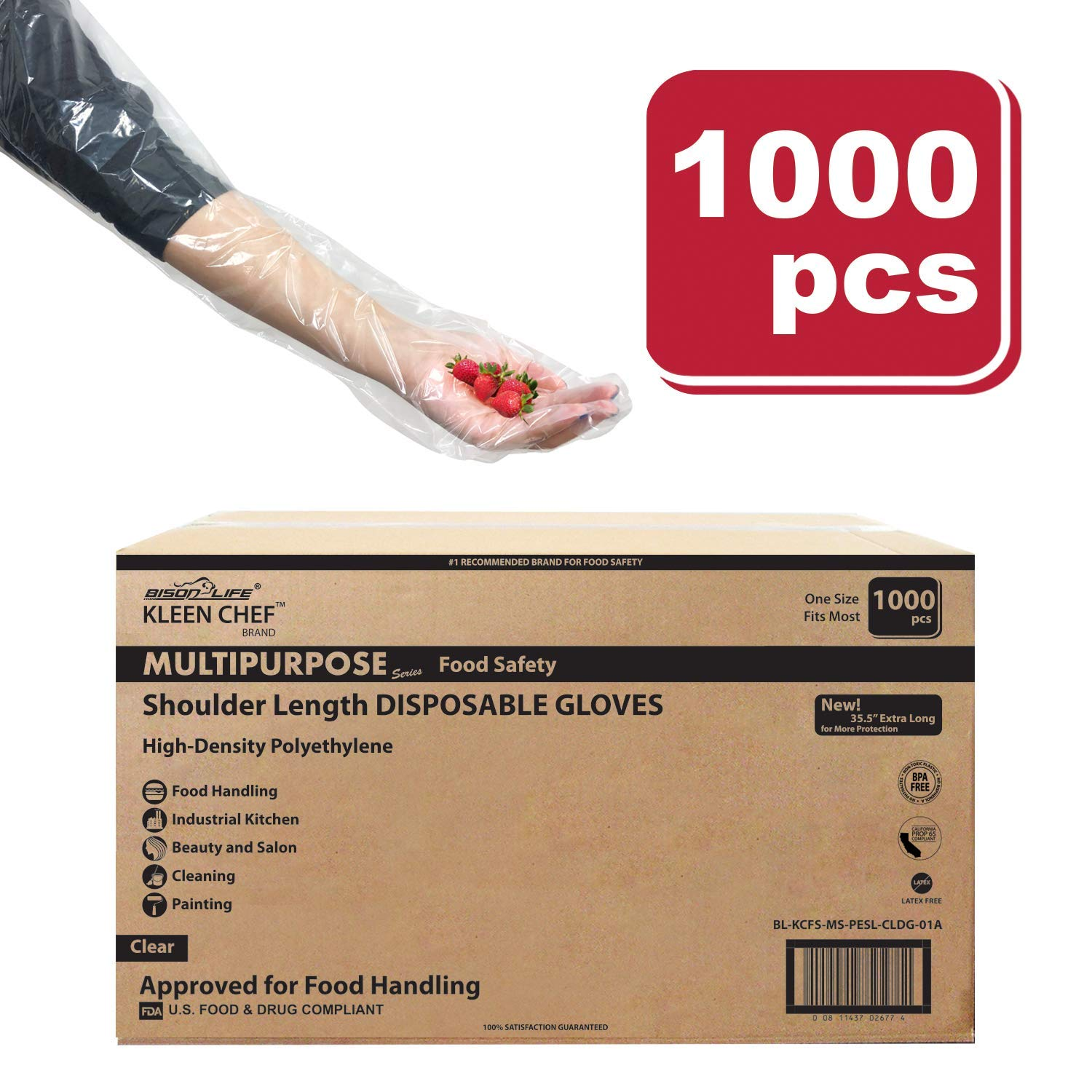 Disposable Food Handling Shoulder Length Poly Gloves | One Size Fits Most, 50 per box (Case of 20 boxes)