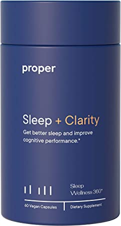 Proper Sleep + Clarity - Natural Healthy Sleep Solution and Sleep Aid for A Full Night of Restful Sleep and Improved Clarity and Adrenal Health - 60 Vegan Capsules, No Melatonin, Non-GMO, Sugar-Free