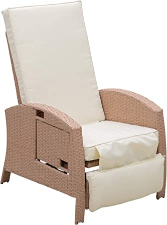 Outsunny Patio Wicker Recliner Outdoor Adjustable Lounge Chair With Comfortable Cushion Side Table Footrest All Weather Rattan For Garden Backyard Porch Pool Beige Garden Outdoor