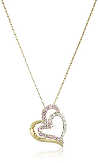 Amazon 10k yellow gold necklace with pink sapphire and diamond 10k yellow gold necklace with pink sapphire and diamond heart pendant 18quot aloadofball Image collections
