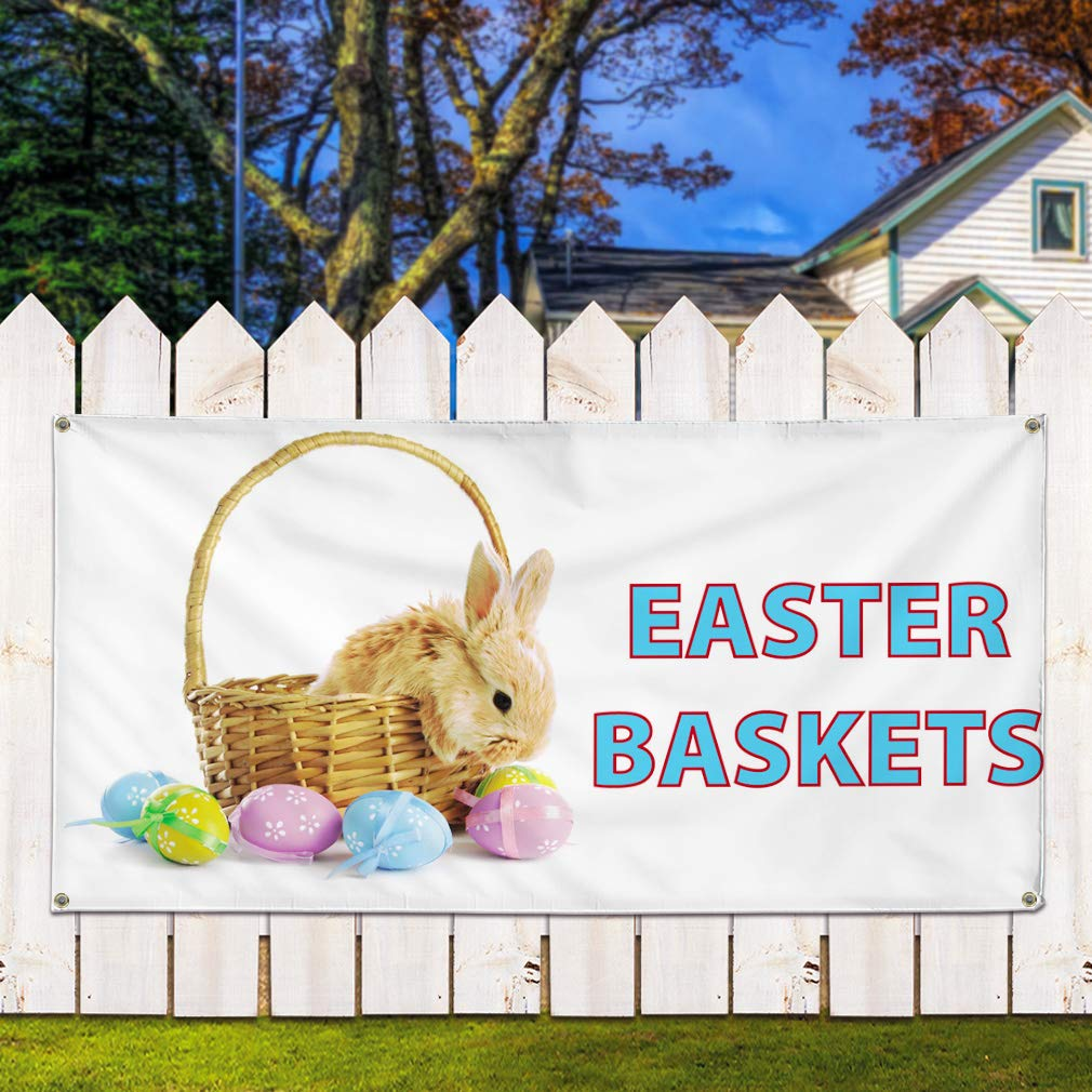 6 Grommets Set of 2 Multiple Sizes Available Vinyl Banner Sign Easter Baskets #1 Holidays and Occasions Marketing Advertising White 32inx80in