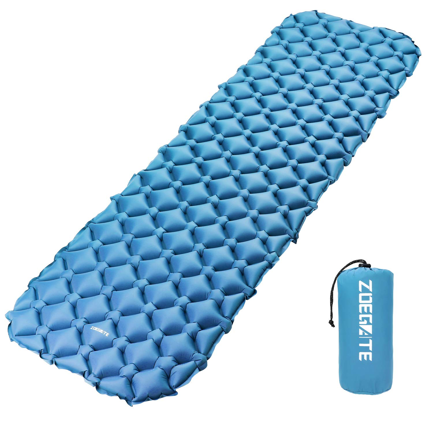 Speedsporting Tapis de Couchage Gonflable, Matelas Camping de Gonflable Tapis de Sol Gonflable, Coussin Gonflable, Coussin d\'air, Matelas de Camping Léger pour Camping Coussin d'air Matelas de Camping Léger pour Camping (Bleu sans oreillers)