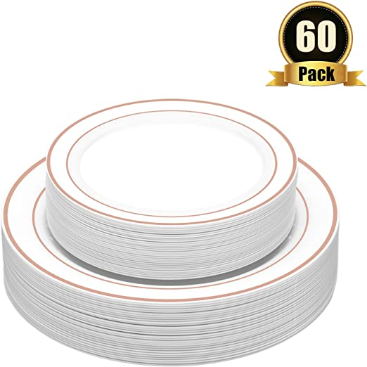 """30 x 10.25/"""" Dinner and 30 x 7.5/"""" Salad Com Disposable Plastic Plates 60 Pack"""