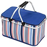 Collapsible Picnic Basket, NATUCE 32L Large Folding Insulated Lunch Box, Camping Shopping Cooler Bag with Aluminum Carry Handles for Hiking Fishing Travel BBQ - Blue