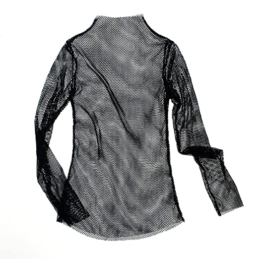 2cc2e5d6835c51 Shouhengda Women's Long Sleeve See Through Sheer Mesh T Shirt Dress (Black)