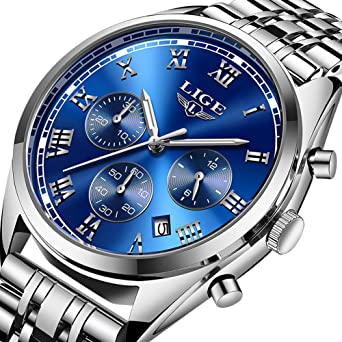 Luxury LIGE Brand Watches Men Business Analog Quartz Stainless Steel Luminous Waterproof Watch Chronograph Sport Dress