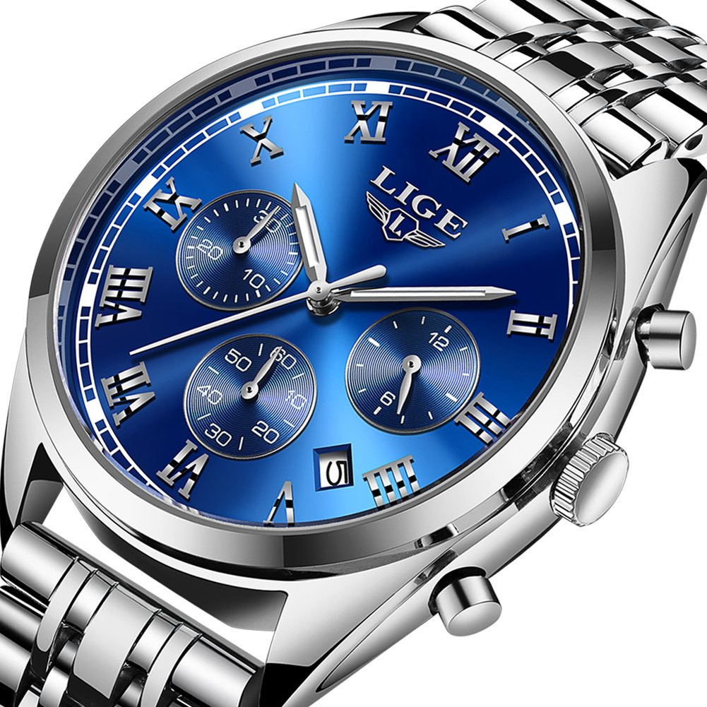 Luxury LIGE Brand Watches Men Business Analog Quartz Stainless Steel Luminous Waterproof Watch Chronograph Sport Dress Male Watches Silver Blue by LIGE