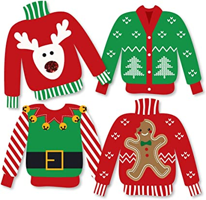 Amazon Com Big Dot Of Happiness Ugly Sweater Sweater Decorations Diy Holiday And Christmas Party Essentials Set Of 20 Toys Games