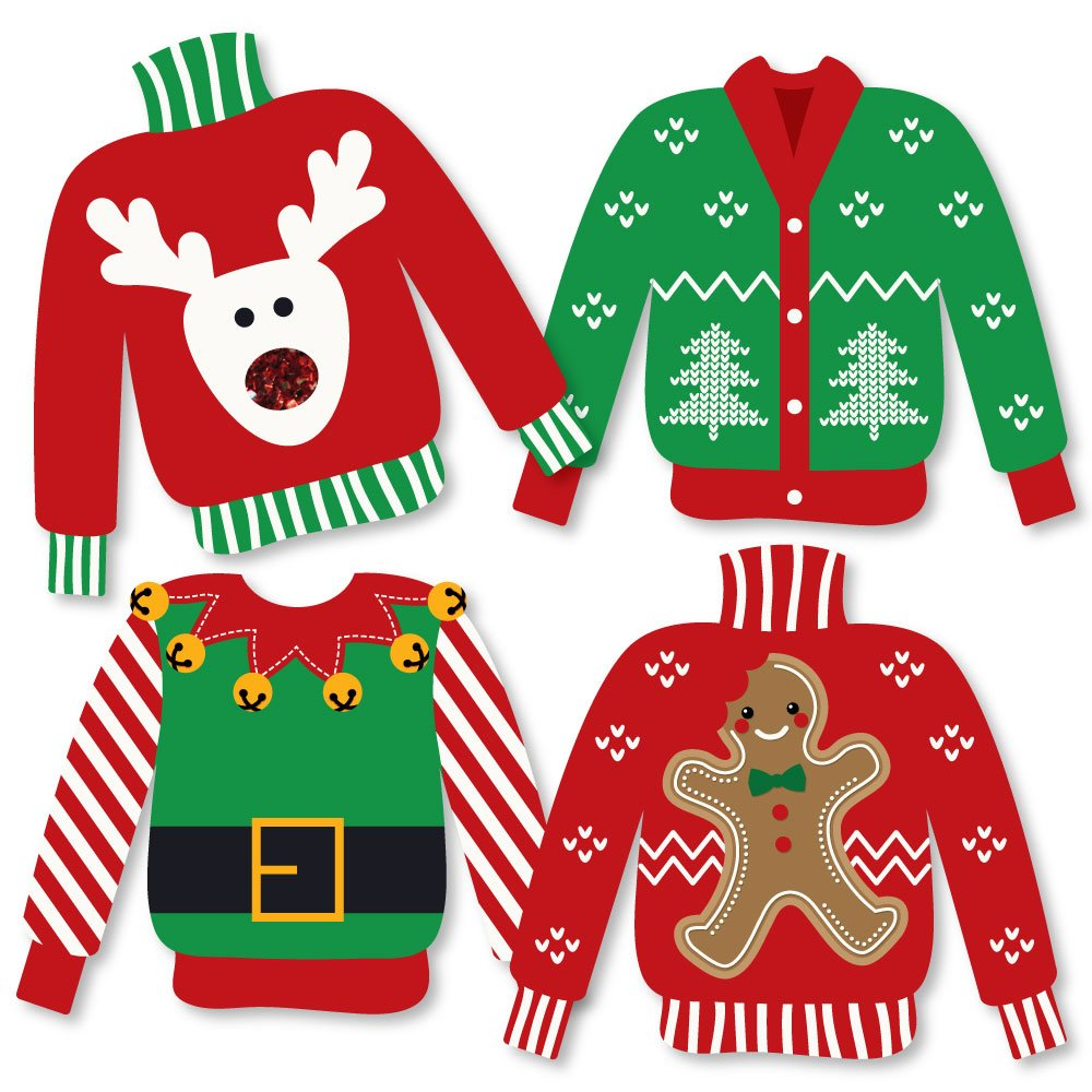 Ugly Sweater - Sweater Decorations DIY Holiday & Christmas Party Essentials - Set of 20