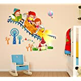 Decals Design 'Kids Riding Roller Coaster' Wall Sticker (PVC Vinyl, 50 cm x 70 cm x 1 cm), Multicolour