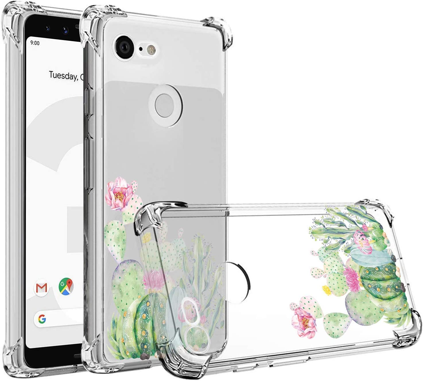 JAHOLAN Compatible with Google Pixel 3a Case Clear Cute Green Cactus Girls Floral Design TPU Soft Slim Flexible Silicone Cover Phone Case for Google Pixel 3a