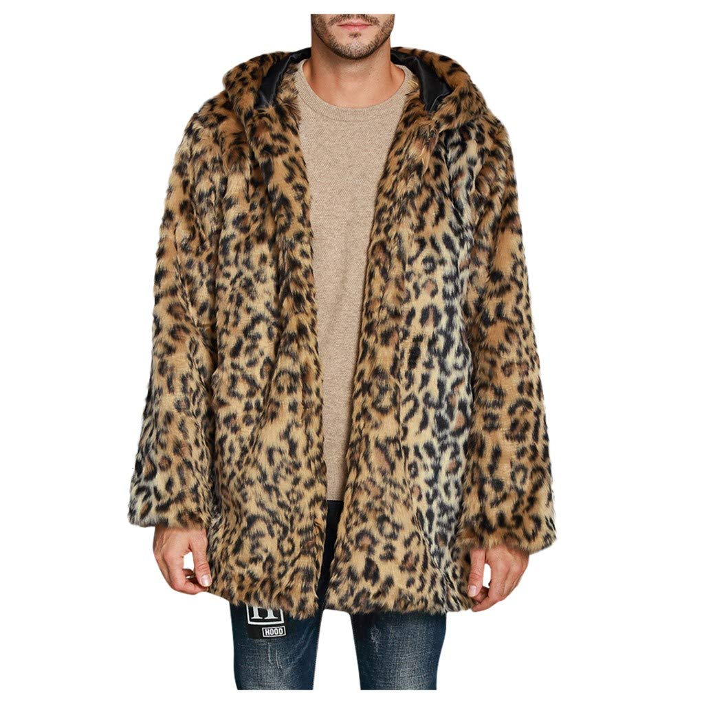 Men's Luxury Winter Warm Faux Fur Long Jacket Thicken Notched Outerwear Overcoat by Vintress
