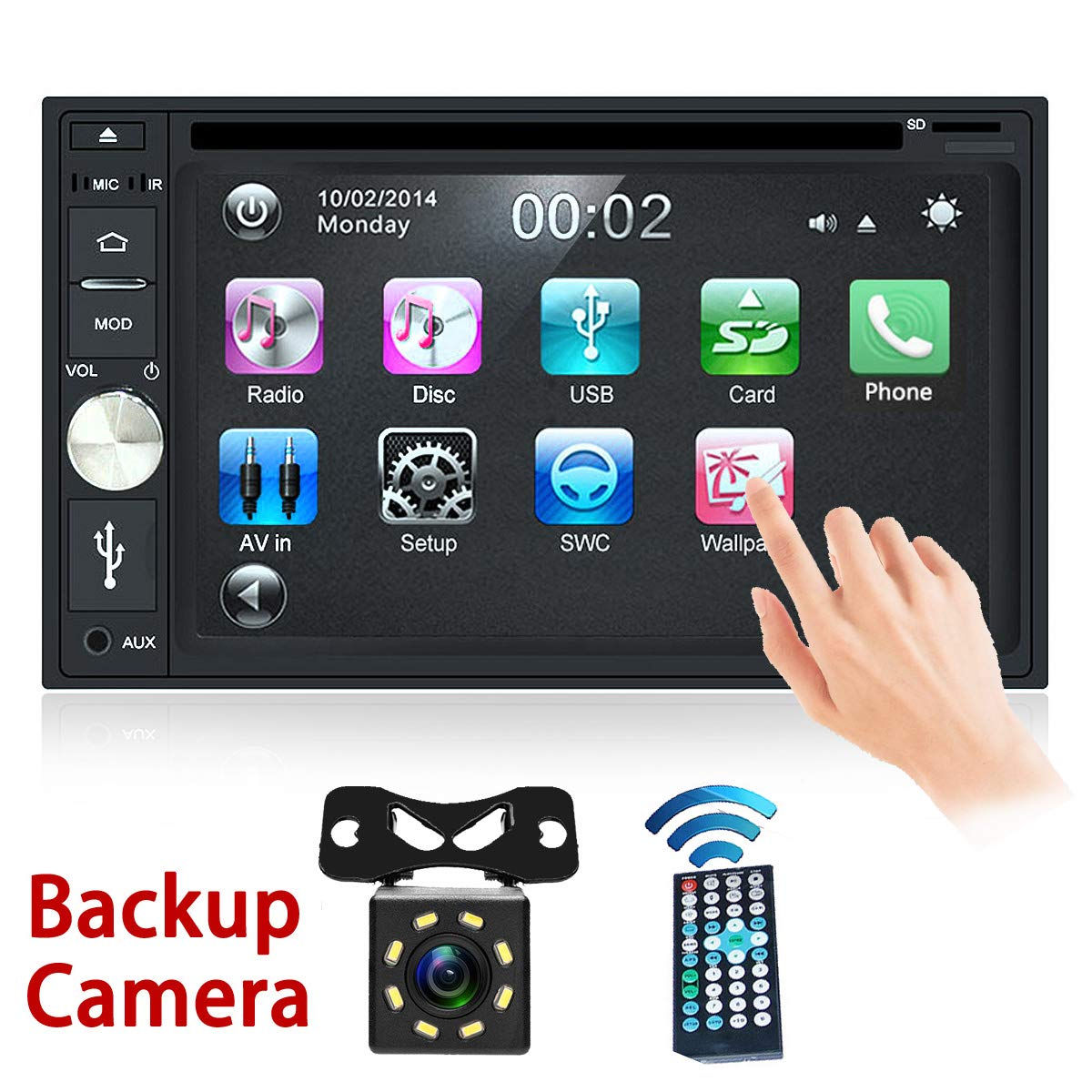 Free Backup Camera Included + Double Din Car Stereo DVD Player Radio Bluetooth 2 Din Capacitive Touch Screen Support USB SD 1080P Multi Language Remote Control by EZoneTronics