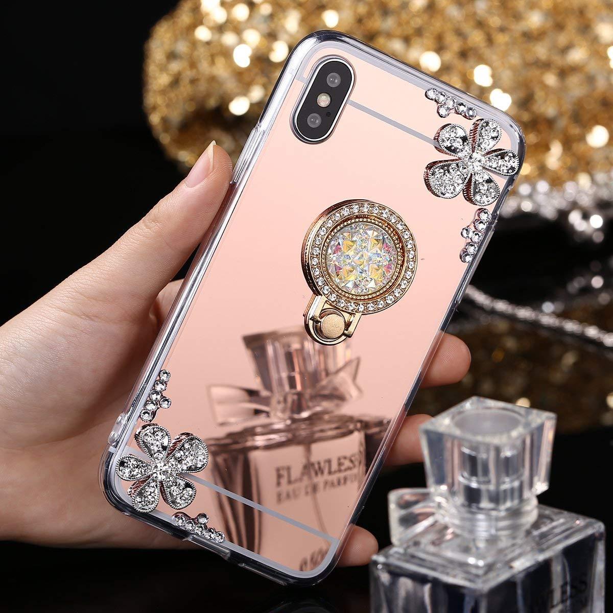 SainCat Coque pour iPhone 7//8 Coque Miroir Silicone Paillette Strass avec Anneau Etui de Protection Anti-Rayures Ultra Slim Premium TPU Bumper Coque pour iPhone 7//8-Argent