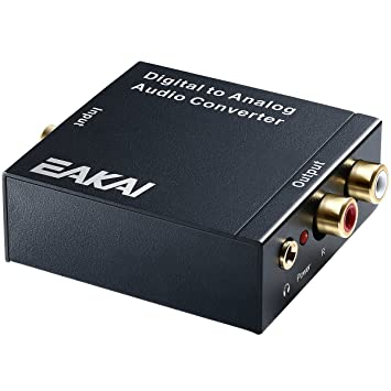 EAKAI Audio Convertidor de Digital (Toslink y coaxial) a analógico, digital a analógico